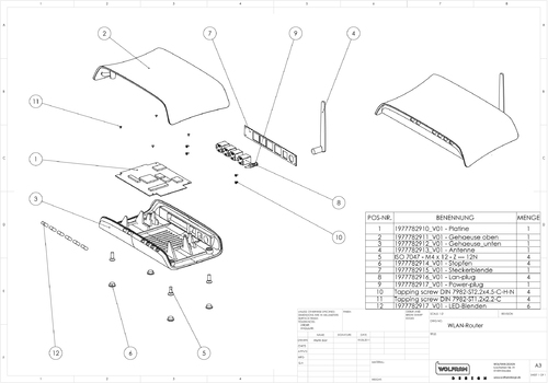 Industriedesign: Explosionsansicht Router | © Copyright by G.W.P. Manufacturing Services AG - Warnung: Unberechtigte Bildnutzung wird konsequent verfolgt!